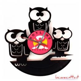 Tre civette orologio su disco in vinile top art arredamenti design
