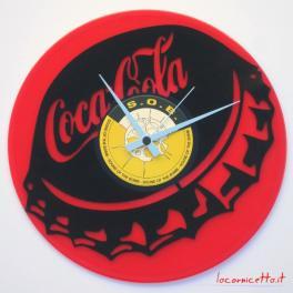 Doppio disco in vinile nero raffigurazione tappo CocaCola con fondo rosso