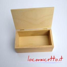 Scatole in legno faggio naturale grezzo con coperchio e cerniere in ottone
