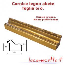 Cornice foglia oro in legno abete spessore profilo adatto per tele e telai