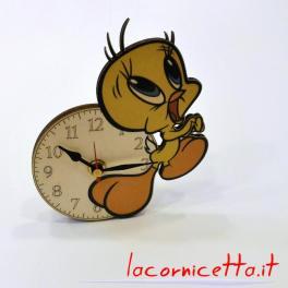 Canarino Titti orologio tavolo in legno arredo design top