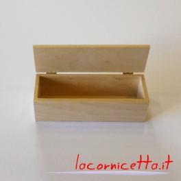 Astuccio in legno naturale di forma rettangolare, scatola contenitore