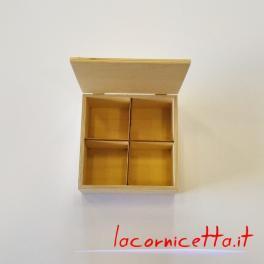 Scatole in legno con rastelliera in molteplici forme e misure scomparti