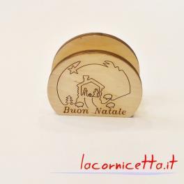 Portatovaglioli da tavola Natalizia inciso su legno Buon Natale con immagine nativita