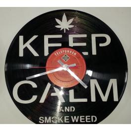 Keep Calm and smoke weed clock disco in vinile orologio parete