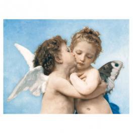 Tela in cotone riproduzione opera autore Bouguereau titolo The first kiss