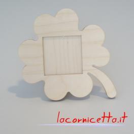 Portafoto da tavolo forma quadrifoglio interno foto 10x10 cm