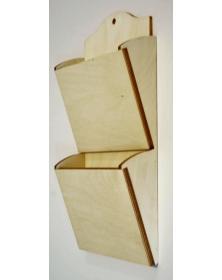 Porta posta da parete 18x35 cm h 5,5 cm 2 tasche portaposta in legno
