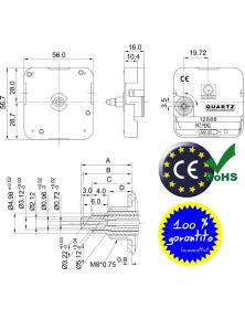 Movimento Meccanica Orologio Young Twon 12888 SB-2. 3 mm. Disegno Progetto.