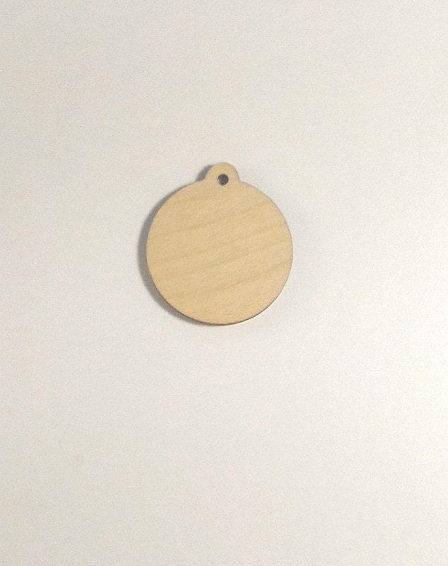Ciondoli in legno con foro formato rotondo diametro 4 Cm