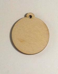 Ciondoli in legno con foro formato rotondo diametro 8,5 Cm
