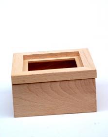 Scatola Porta-Mattonella 10x10 cm in legno naturale grezzo Venature Naturali in piano