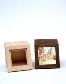 Scatola Porta-Mattonella 10x10 cm in legno naturale grezzo.