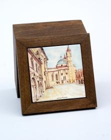 Scatola Porta-Mattonella 10x10 cm in legno naturale grezzo Venature Naturali decorata con mattonella