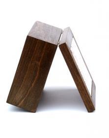 Scatola Porta-Mattonella 10x10 cm in legno naturale grezzo Venature Naturali vista profilo