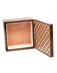 Scatola Porta-Mattonella 10x10 cm in legno naturale grezzo Venature Naturali vista interno in velluto