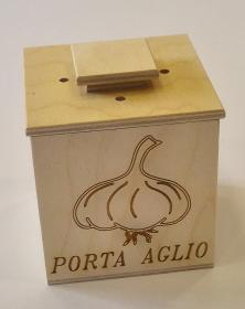 Barattolo in legno contenitore per cucina tecnica pirografia incise aglio