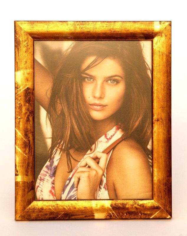 Portafoto in legno 15x20 cornice in oro ricco e pallido spazzolato. Laboratorio LaCornicetta