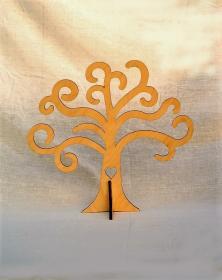 Albero della vita in legno con piedino e cuore sul tronco. Laboratorio Artigianale lacornicetta.it