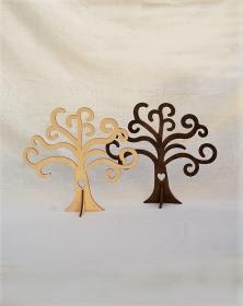 Albero della vita in legno colorato noce con piedino e cuore foto vetrina. Laboratorio Artigianale lacornicetta.it