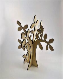 Albero in legno stilizzato foglie ulivo colore naturale legno per arredo h 30 cm. Studio lacornicetta.it