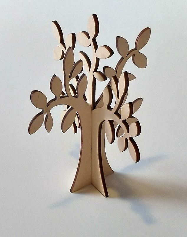 Albero in legno stilizzato foglie ulivo colore naturale per arredo h 40 Cm