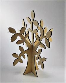 Albero in legno stilizzato foglie ulivo colore naturale per arredo h 40 Cm. Studio lacornicetta.it