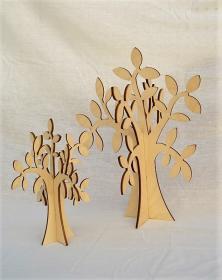 Albero in legno stilizzato foglie ulivo colore naturale per arredo h 30 e 40 cm. Laboratorio Artigianale lacornicetta.it