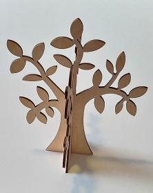 Albero in legno stilizzato foglie ulivo colore naturale per arredo h 30 cm. Laboratorio Artigianale lacornicetta.it