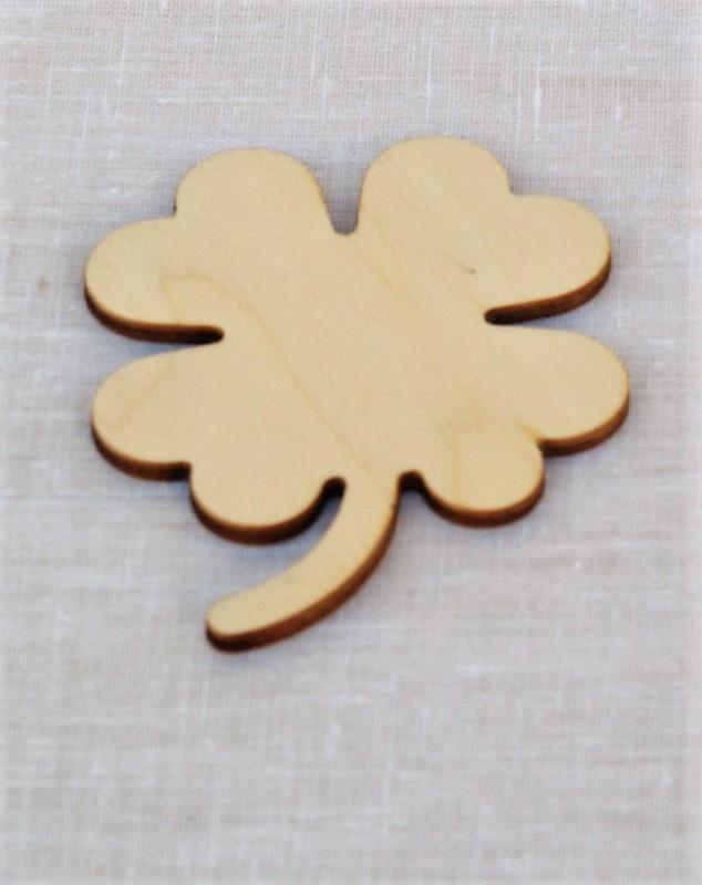 Quadrifoglio portafortuna in legno sagoma fiore bricolage 7 cm