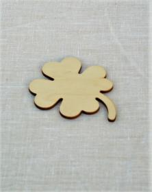 Sagoma fiore quadrifoglio portafortuna in legno 7 cm
