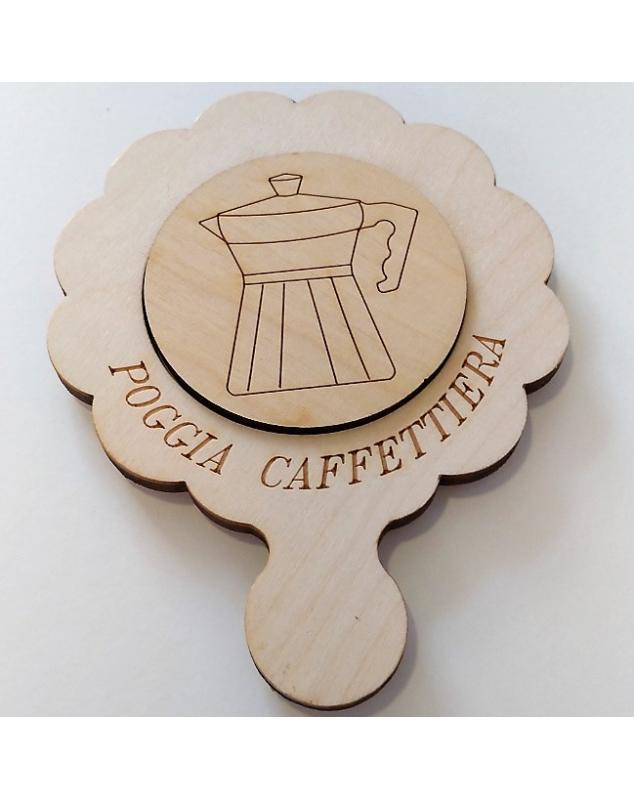 Porta Caffettiera in legno naturale incisione con pirografo 15x20 cm