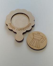 Porta Caffettiera in legno naturale incisione con pirografo 15x20 cm porta caffettiera.