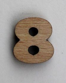 Numero piccolo 2x2 Cm cifra 8 in legno per arti creative hobby decoro addobbo. Laboratorio Artigianale lacornicetta.it
