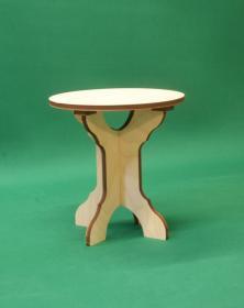 Sgabello basso in legno Rotondo assemblabile h 30,5 cm composto di 3 parti 4 Piedi. Laboratorio Artigianale lacornicetta.it