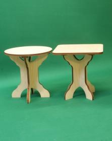 Sgabello basso in legno assemblabile h 30,5 cm composto di 3 parti
