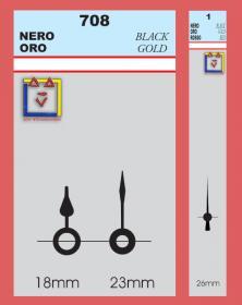 Art. 708 - YT lancette in metallo colore nero -  Lancetta secondi S/1. Disegno lacornicetta.it