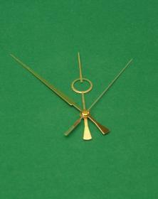 Lancette TY-F.11 alluminio colore oro per orologio da parete o tavolo a coda bilanciata. Disegno lacornicetta.it